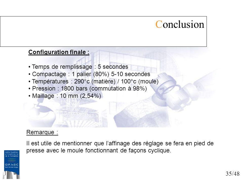 Conclusion Configuration finale : Temps de remplissage : 5 secondes