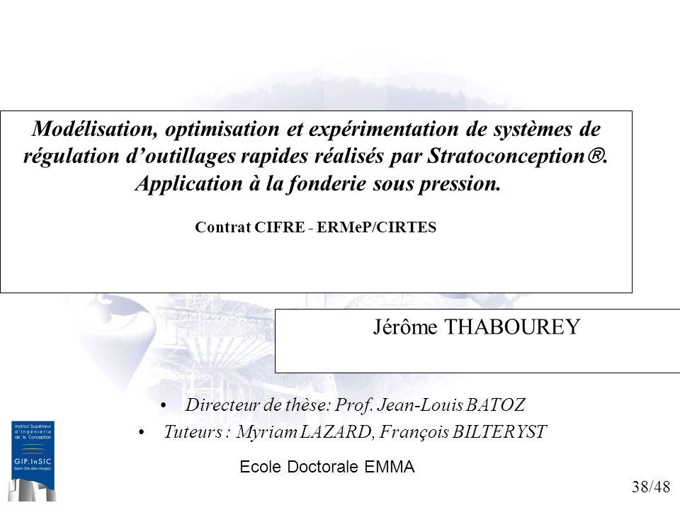 Modélisation, optimisation et expérimentation de systèmes de régulation d'outillages rapides réalisés par Stratoconception. Application à la fonderie sous pression. Contrat CIFRE - ERMeP/CIRTES