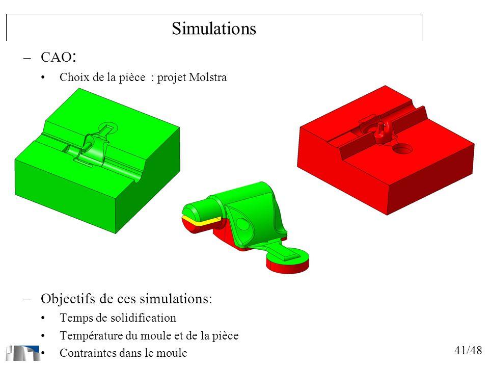 Simulations CAO: Objectifs de ces simulations: