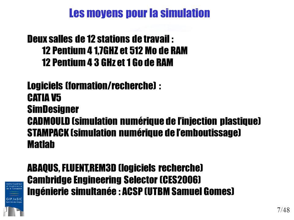Les moyens pour la simulation
