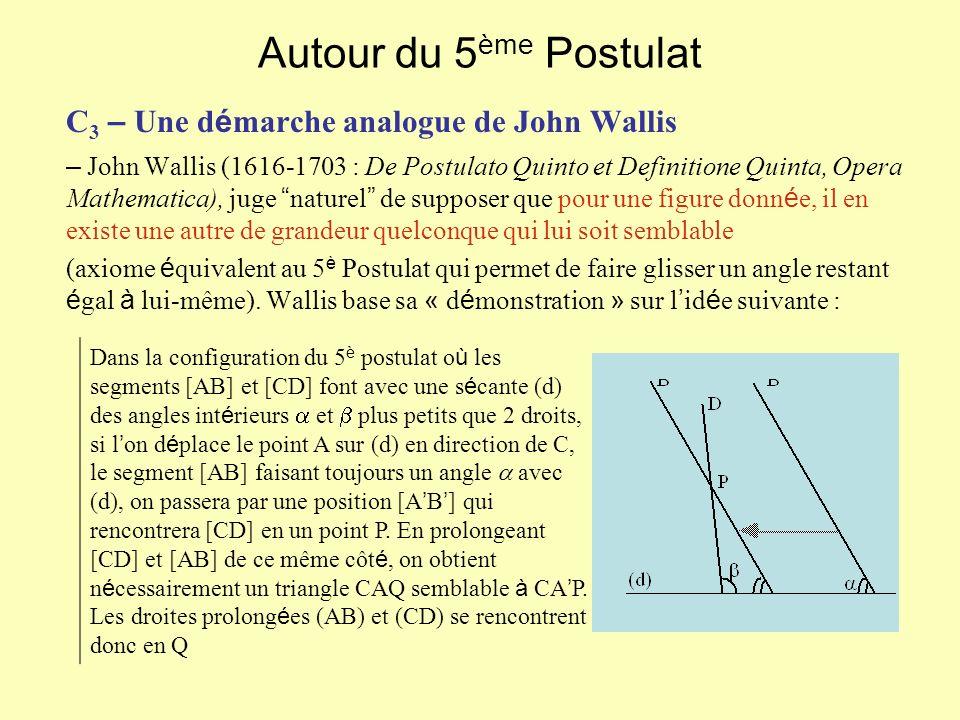 Autour du 5ème Postulat C3 – Une démarche analogue de John Wallis