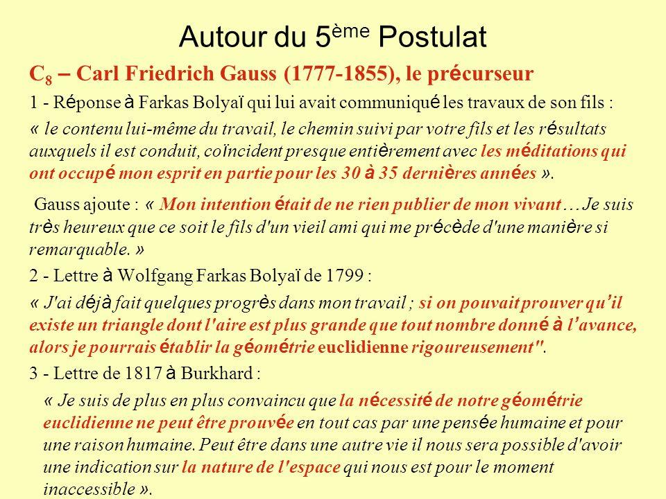 Autour du 5ème Postulat C8 – Carl Friedrich Gauss (1777-1855), le précurseur.
