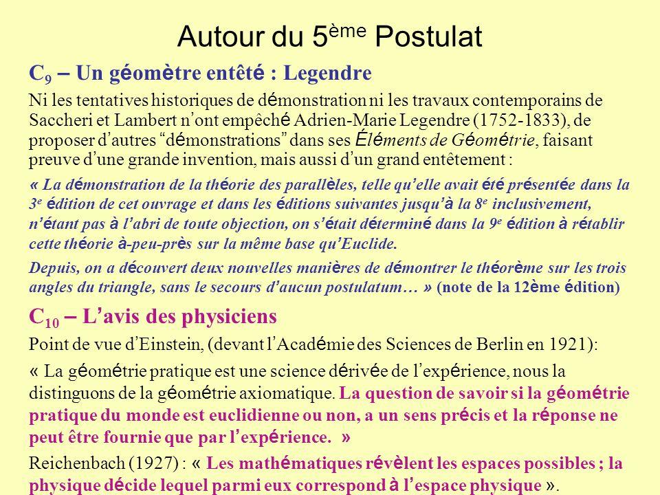 Autour du 5ème Postulat C9 – Un géomètre entêté : Legendre
