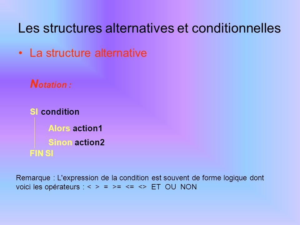 Les structures alternatives et conditionnelles