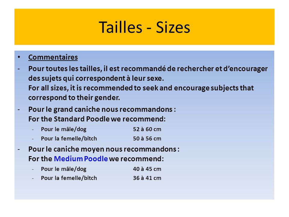 Tailles - Sizes Commentaires