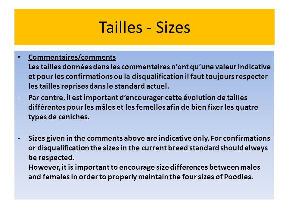 Tailles - Sizes