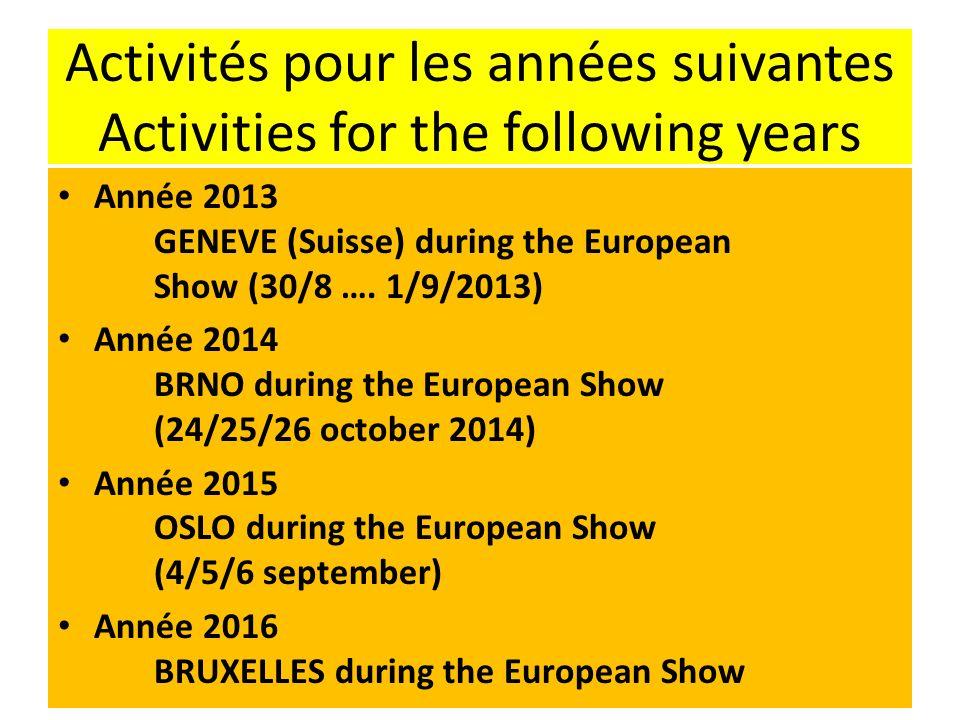 Activités pour les années suivantes Activities for the following years