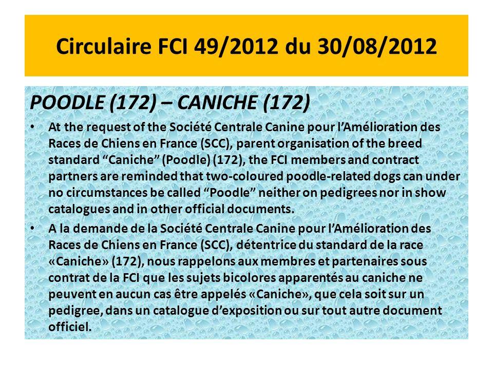 Circulaire FCI 49/2012 du 30/08/2012 POODLE (172) – CANICHE (172)
