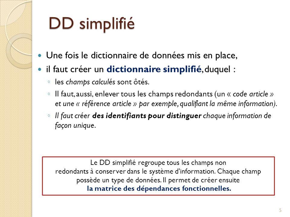 DD simplifié Une fois le dictionnaire de données mis en place,