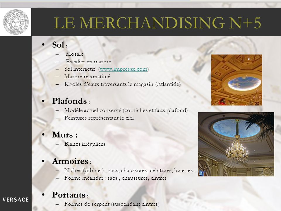 LE MERCHANDISING N+5 Sol : Plafonds : Murs : Armoires : Portants :