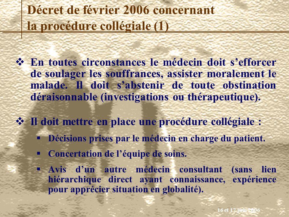 Décret de février 2006 concernant la procédure collégiale (1)