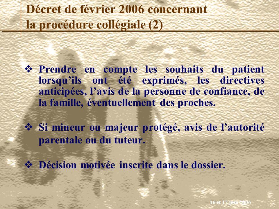 Décret de février 2006 concernant la procédure collégiale (2)