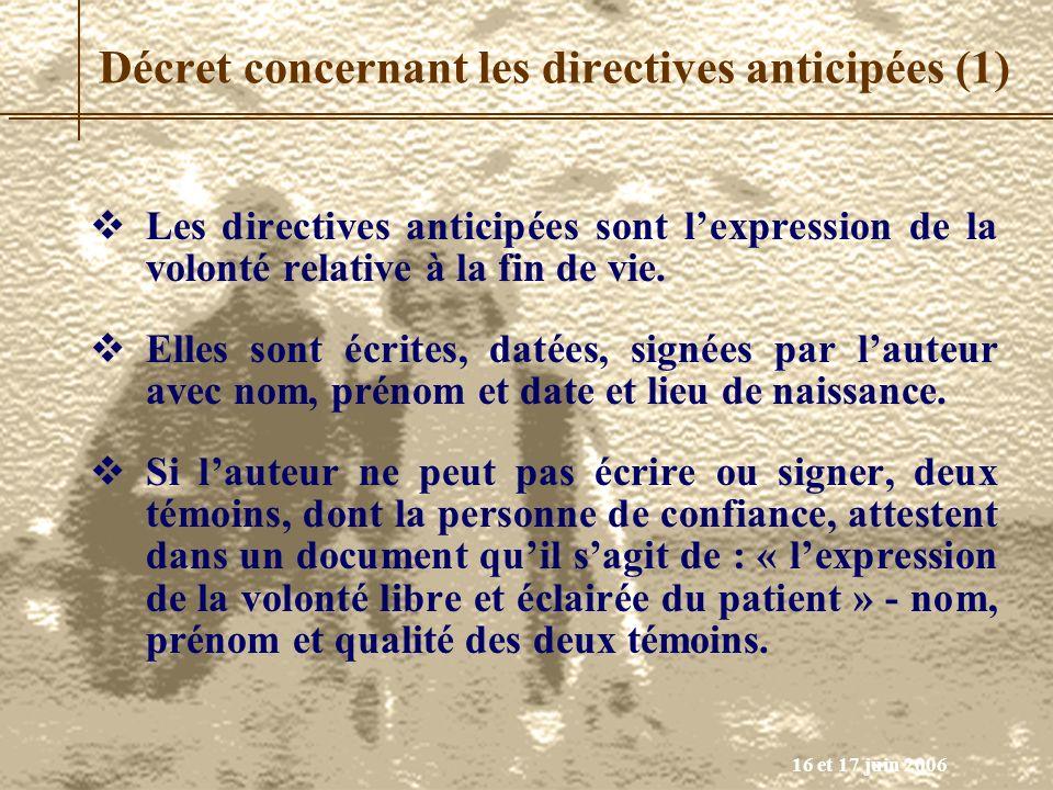 Décret concernant les directives anticipées (1)