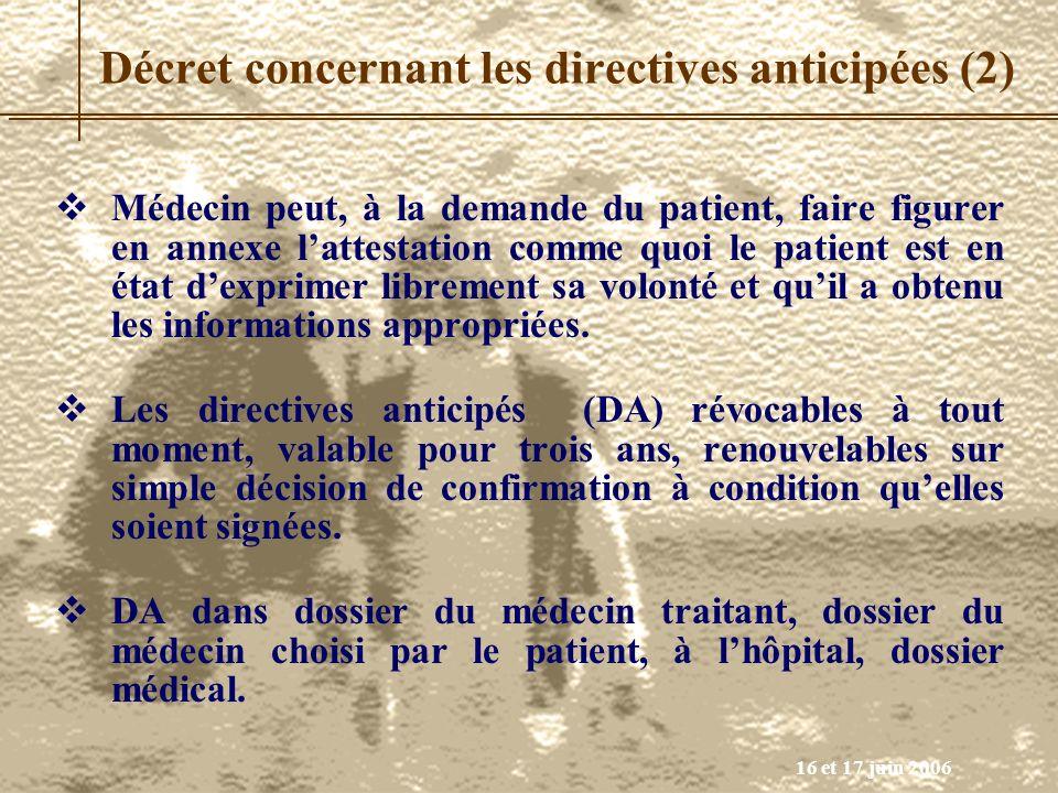 Décret concernant les directives anticipées (2)