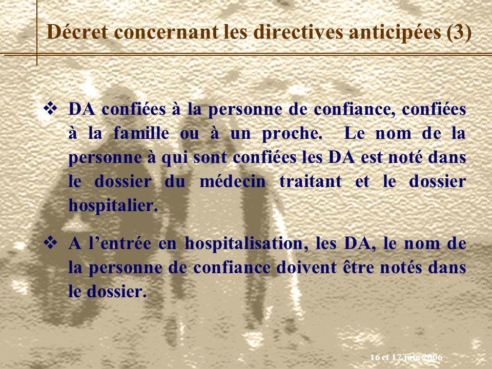 Décret concernant les directives anticipées (3)