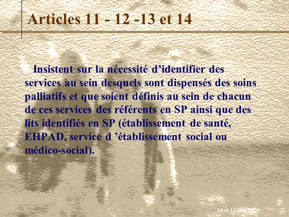 Articles 11 - 12 -13 et 14