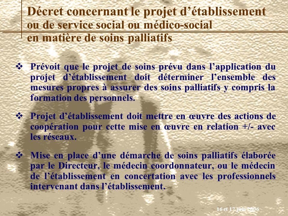 Décret concernant le projet d'établissement ou de service social ou médico-social en matière de soins palliatifs