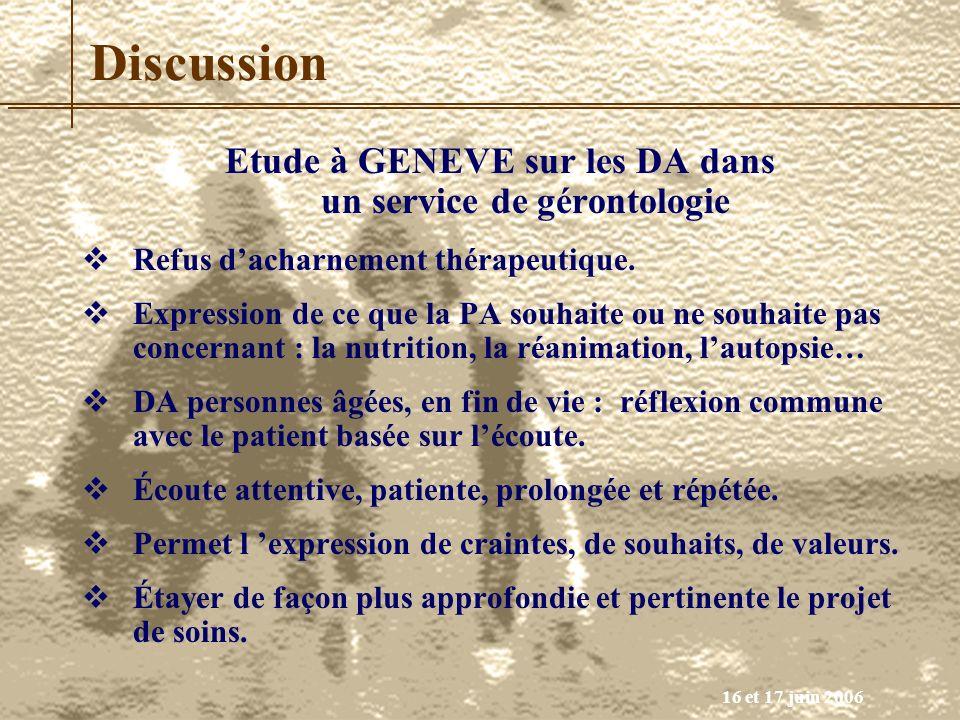 Etude à GENEVE sur les DA dans un service de gérontologie