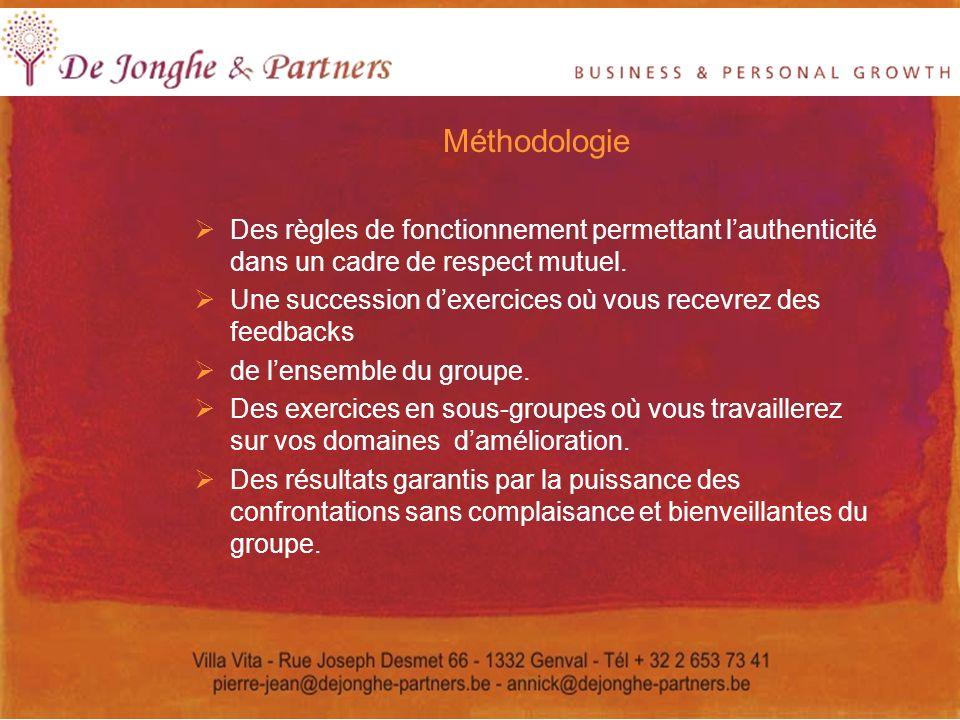 Méthodologie Des règles de fonctionnement permettant l'authenticité dans un cadre de respect mutuel.