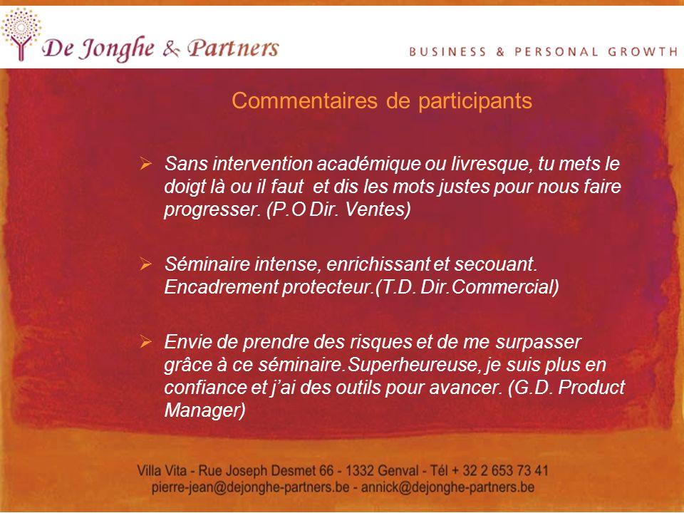 Commentaires de participants
