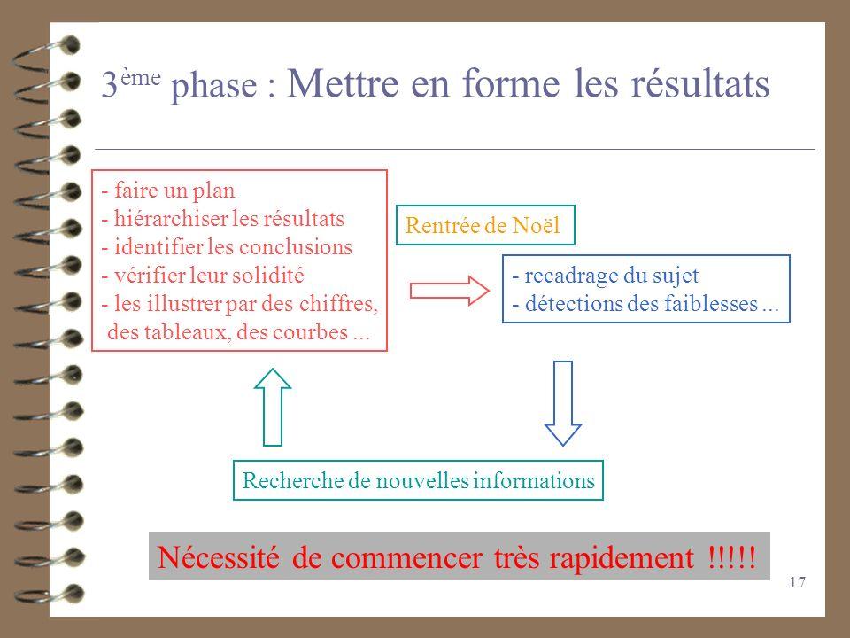 3ème phase : Mettre en forme les résultats
