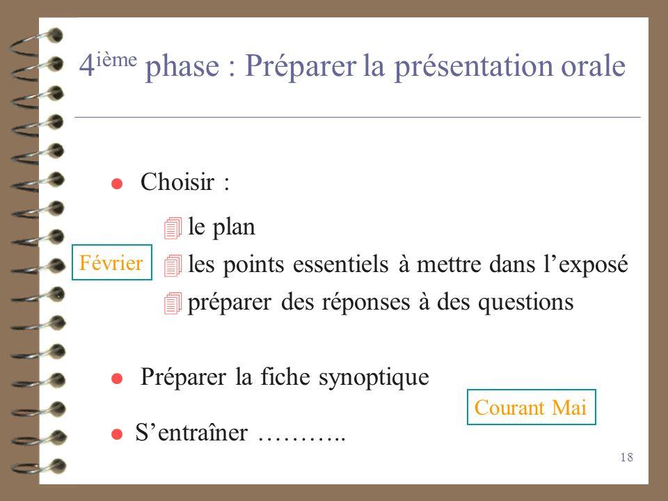 4ième phase : Préparer la présentation orale