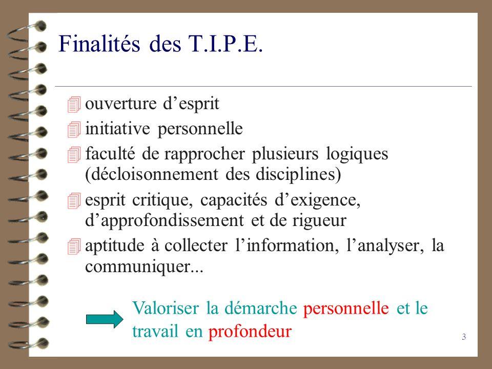 Finalités des T.I.P.E. ouverture d'esprit initiative personnelle