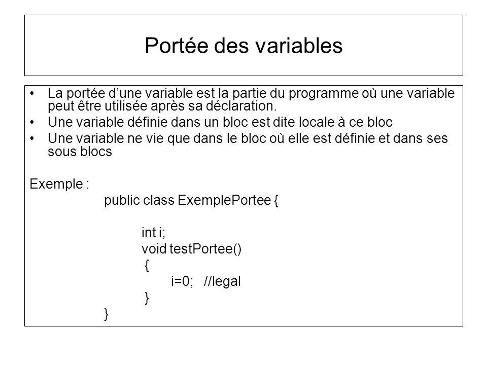 Portée des variables La portée d'une variable est la partie du programme où une variable peut être utilisée après sa déclaration.