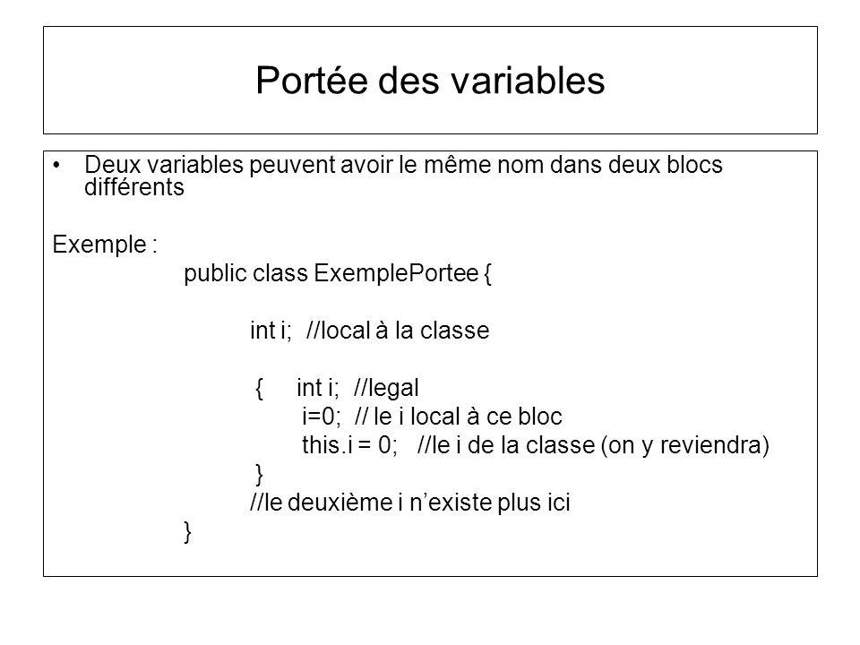 Portée des variables Deux variables peuvent avoir le même nom dans deux blocs différents. Exemple :