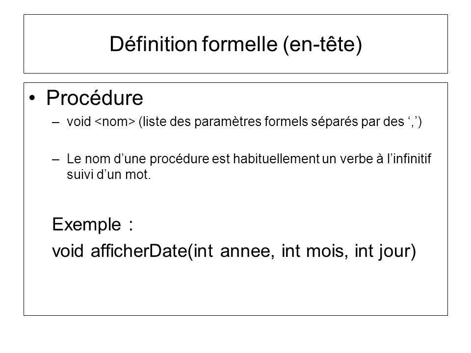 Définition formelle (en-tête)