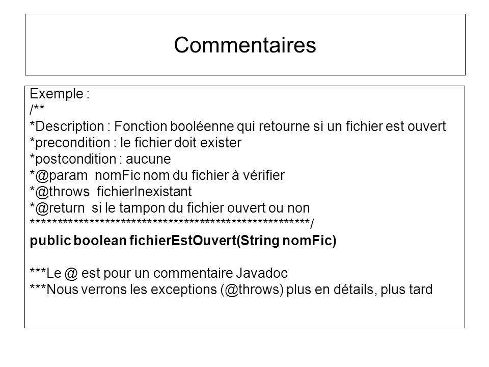 Commentaires Exemple : /**