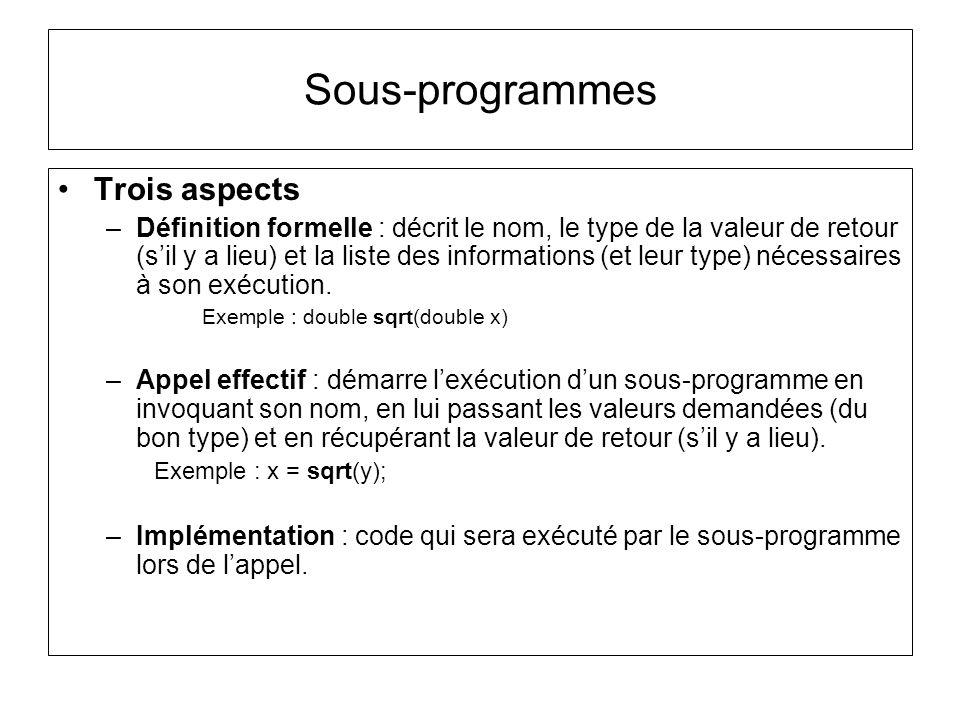 Sous-programmes Trois aspects