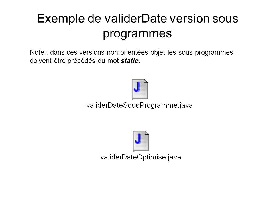 Exemple de validerDate version sous programmes