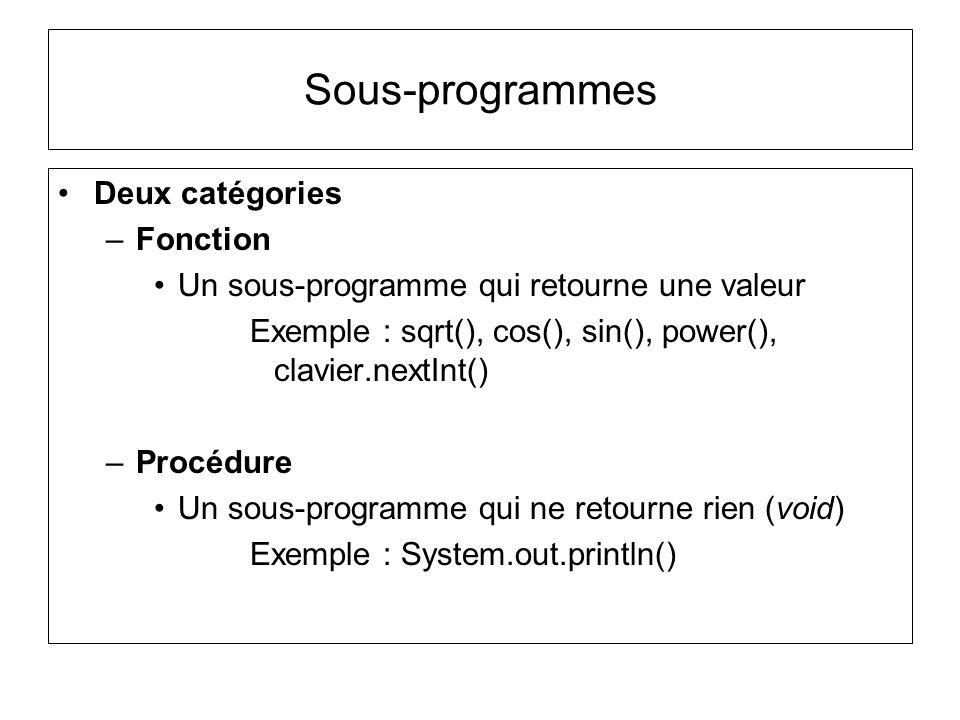 Sous-programmes Deux catégories Fonction