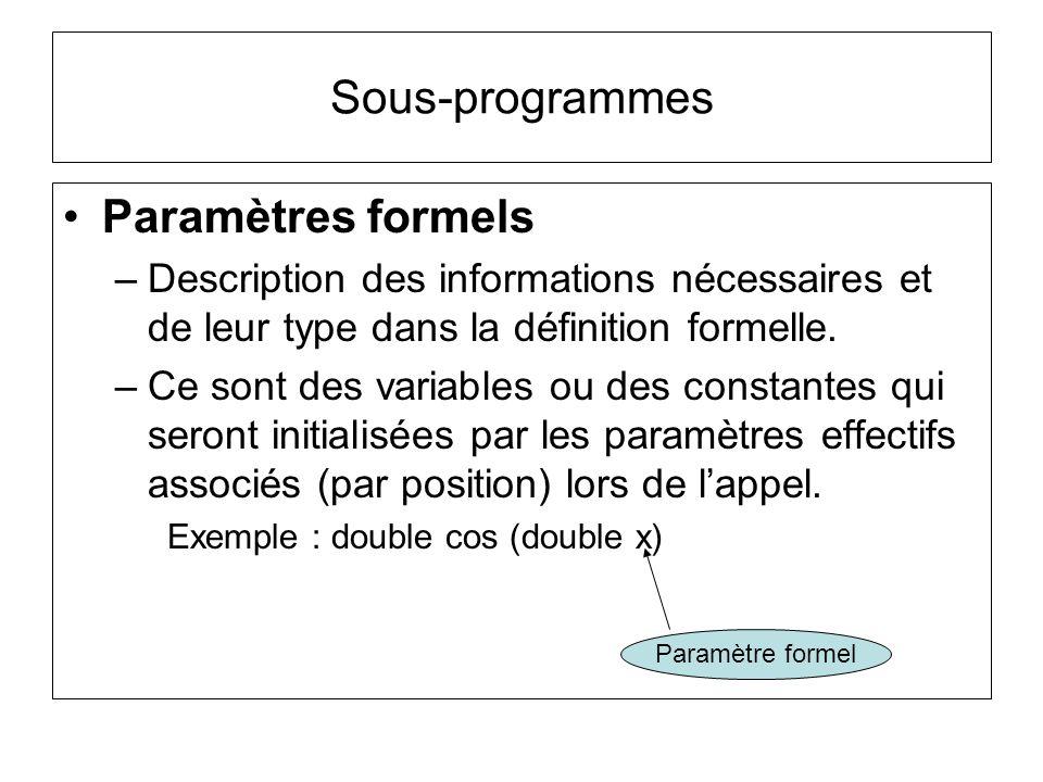 Sous-programmes Paramètres formels