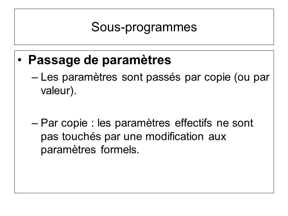 Sous-programmes Passage de paramètres