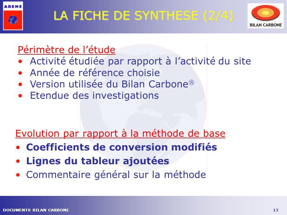 LA FICHE DE SYNTHESE (2/4)