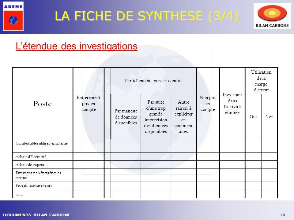 LA FICHE DE SYNTHESE (3/4)