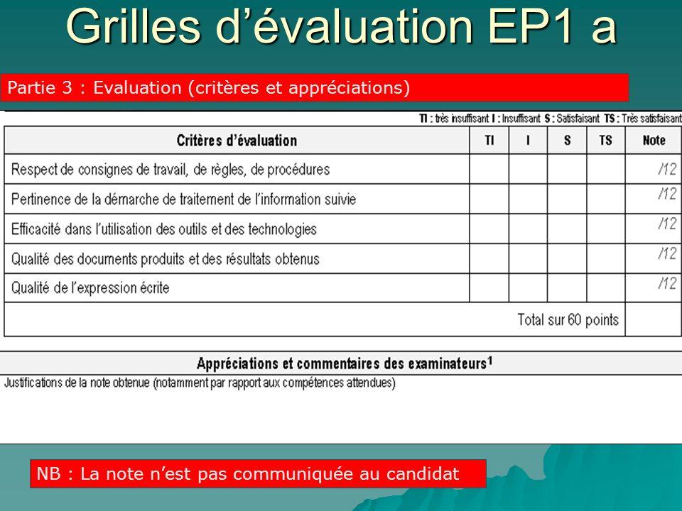 Grilles d'évaluation EP1 a
