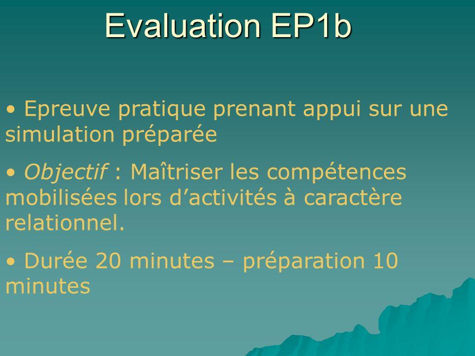 Evaluation EP1b Epreuve pratique prenant appui sur une simulation préparée.