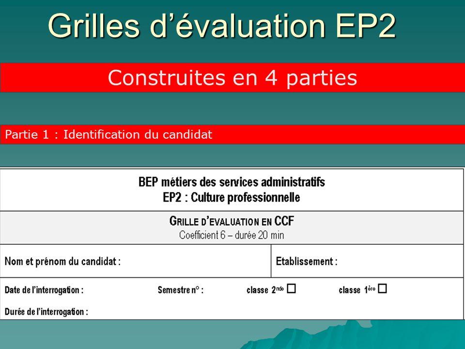 Grilles d'évaluation EP2