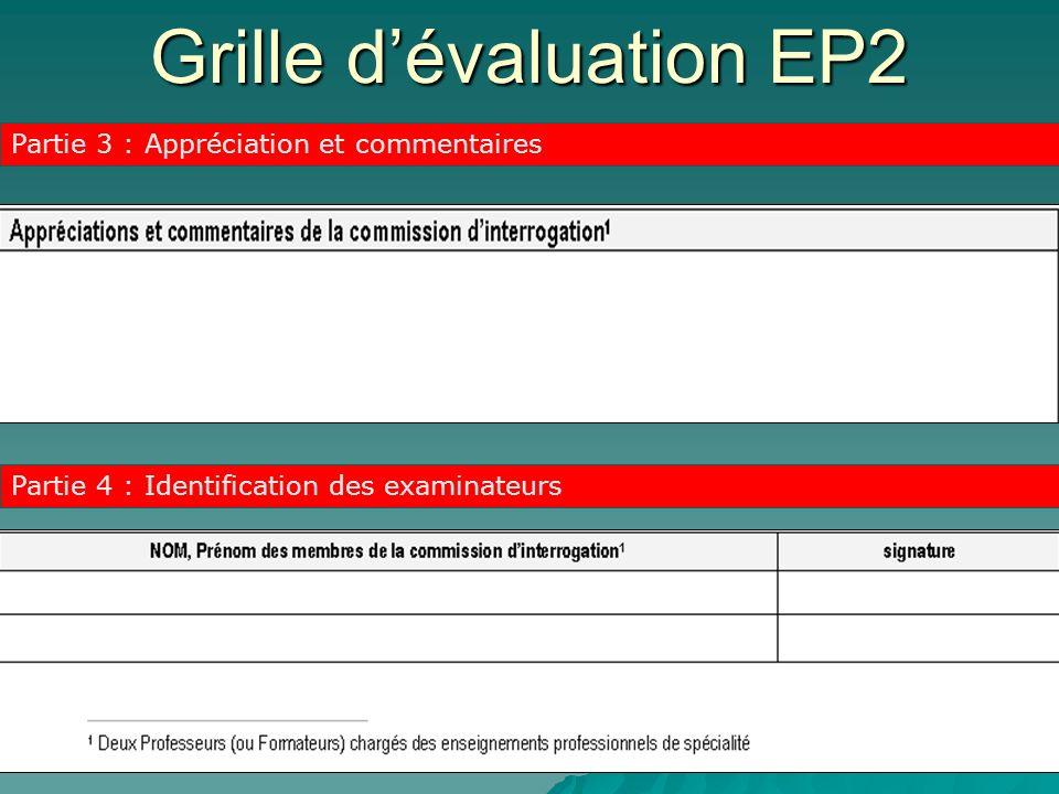 Grille d'évaluation EP2