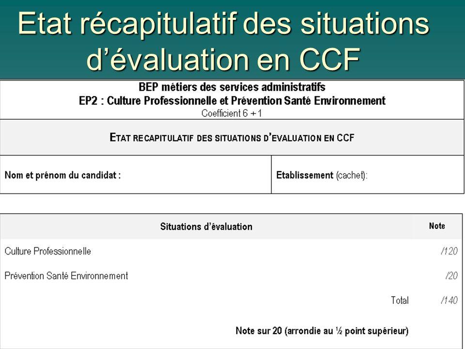 Etat récapitulatif des situations d'évaluation en CCF