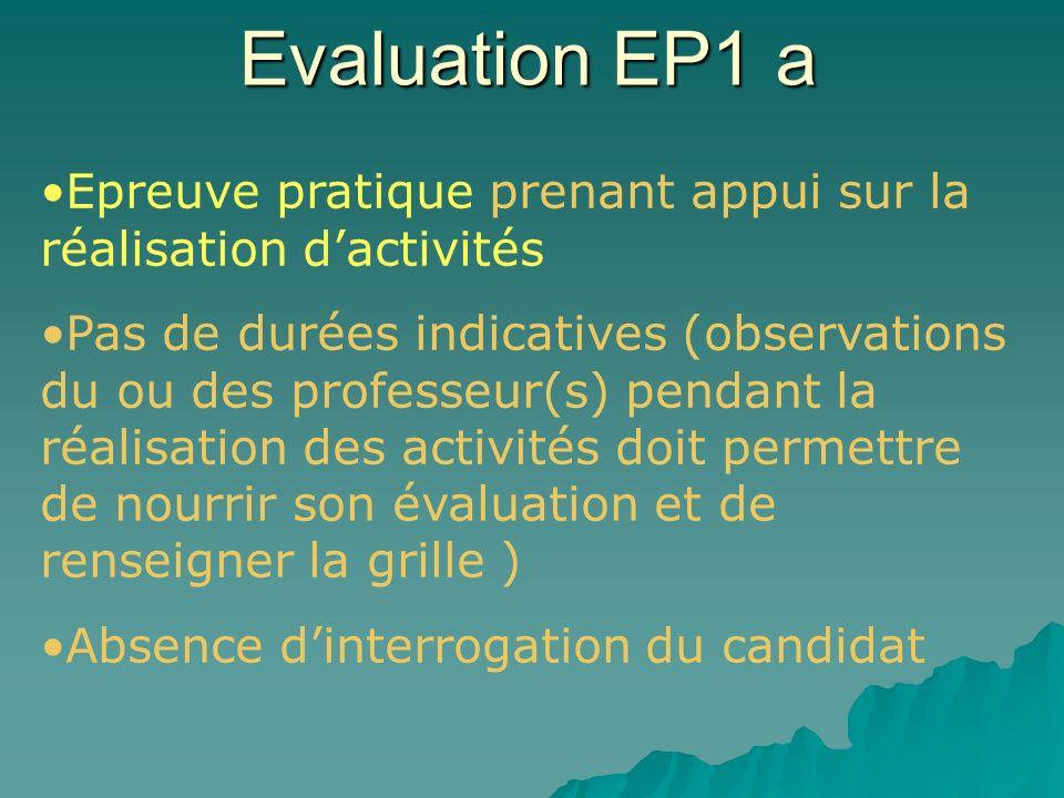Evaluation EP1 a Epreuve pratique prenant appui sur la réalisation d'activités.