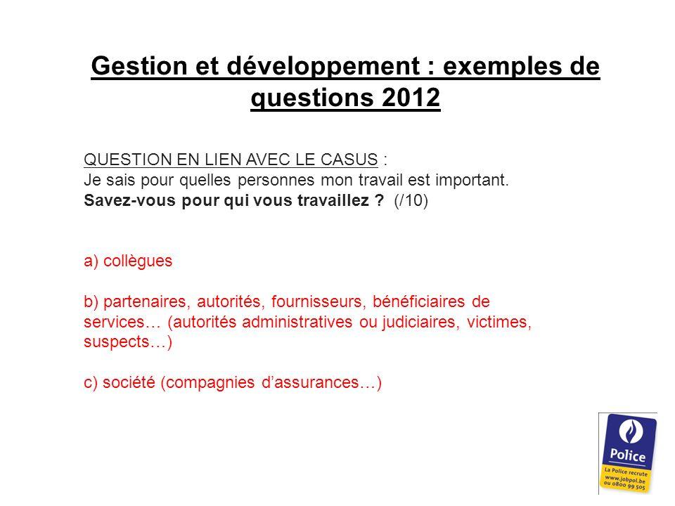 Gestion et développement : exemples de questions 2012