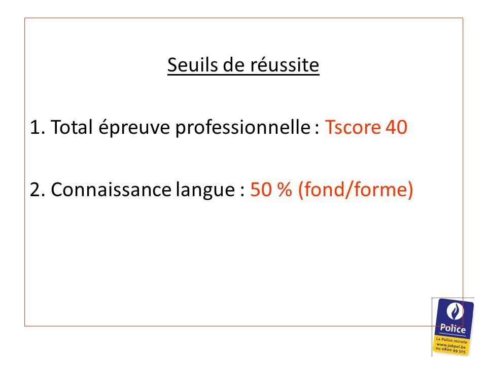 Seuils de réussite 1. Total épreuve professionnelle : Tscore 40.