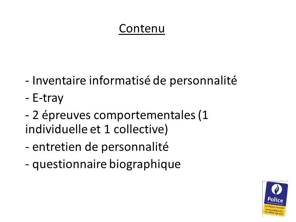 Contenu Inventaire informatisé de personnalité. E-tray. 2 épreuves comportementales (1 individuelle et 1 collective)