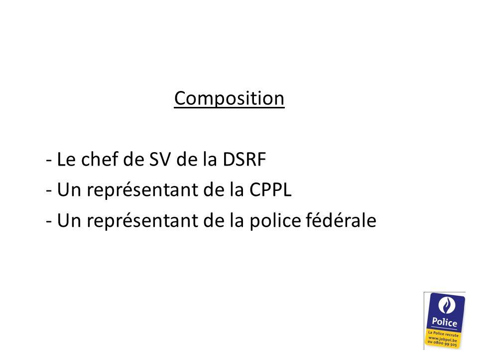 Composition - Le chef de SV de la DSRF. - Un représentant de la CPPL.