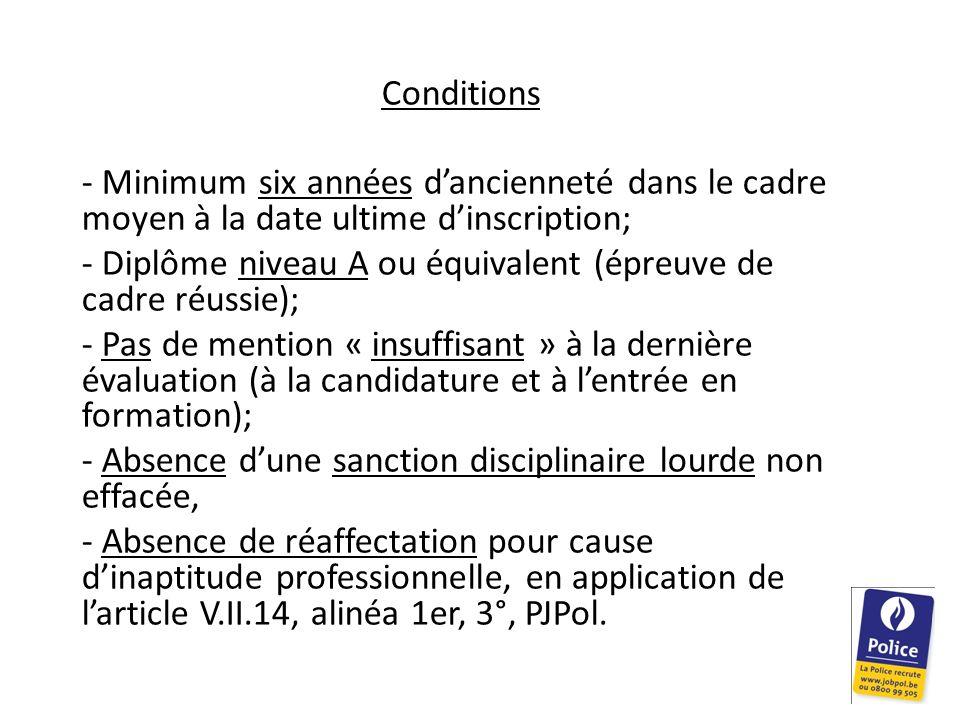 Conditions Minimum six années d'ancienneté dans le cadre moyen à la date ultime d'inscription;