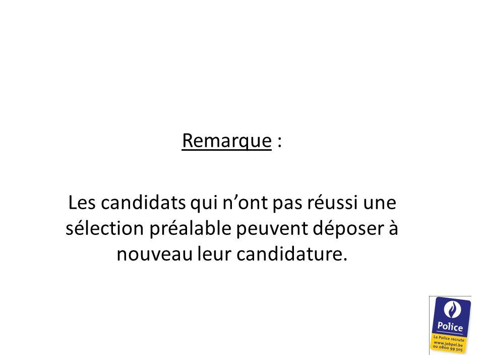 Remarque : Les candidats qui n'ont pas réussi une sélection préalable peuvent déposer à nouveau leur candidature.